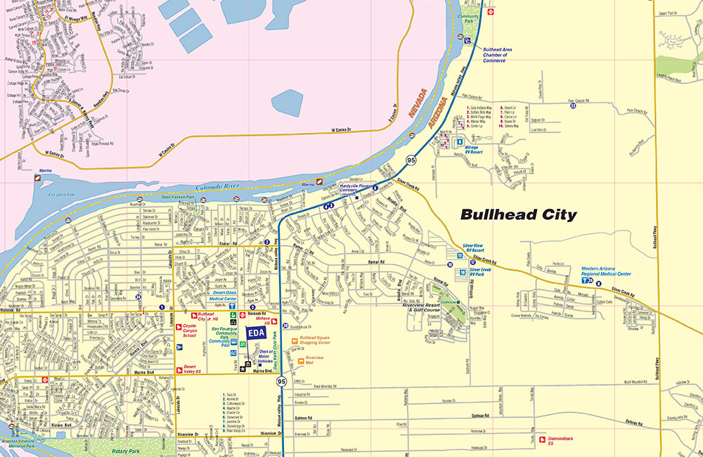 Bullhead City Az Map Community And Area Map Town