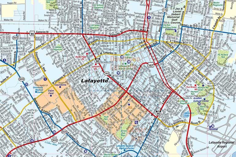 Lafayette La Map Lafayette LA Map, Interactive Map   Town Square Publications