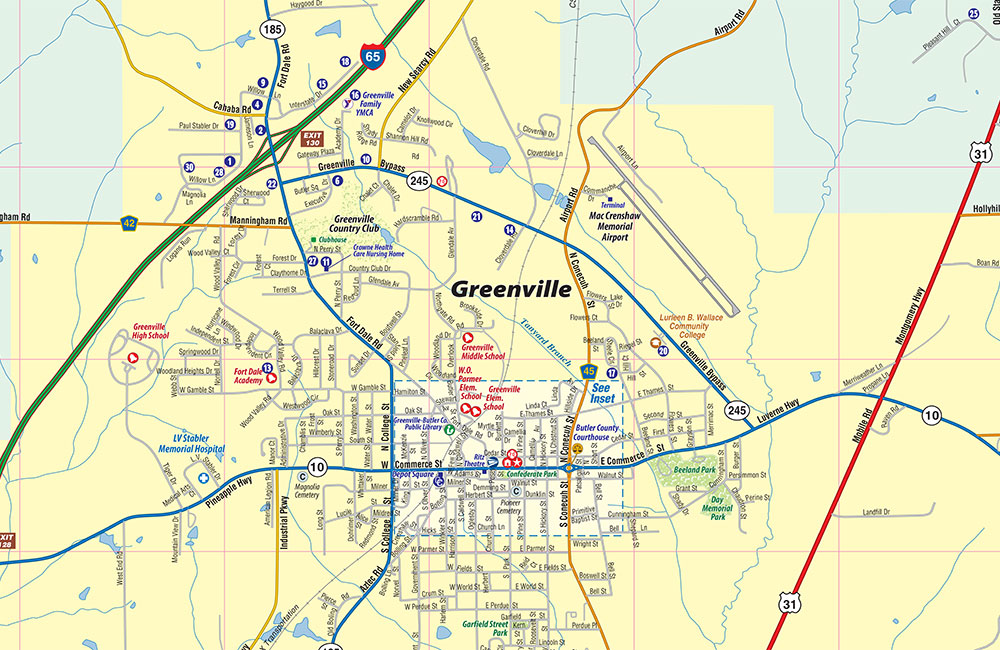 Greenville, AL Map - Town Square Publications on map of stinnett texas, map of goodrich texas, map of adrian texas, map of channing texas, map of cushing texas, map of graford texas, map of fentress texas, map of kerrville texas, map of salina texas, map of winona texas, map of pflugerville texas, map of birdville texas, map of rome texas, map of castleberry texas, map of cross plains texas, map of lackland afb texas, map of valley ranch texas, map of calvert texas, map of big sandy texas, map of glenn heights texas,