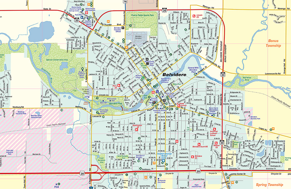 Map Of America Rockford.Belvidere Il Map Community And Area Map Town Square Publications