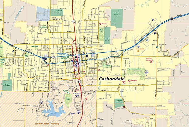 Carbondale Il Map Carbondale Interactive Map Town Square Publications