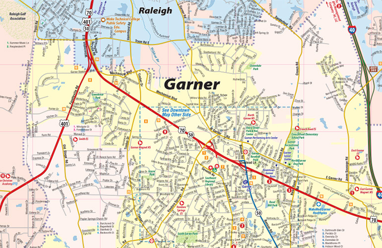 Garner Iowa Map.Garner Nc Map Garner Interactive Map Town Square Publications