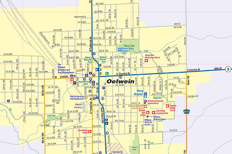 Oelwein Iowa Map.Oelwein Ia Map Oelwein Interactive Map Town Square Publications